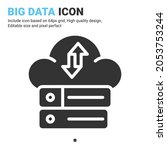big data icon vector with glyph ...