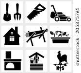 garden icons black vector plant ... | Shutterstock .eps vector #205375765