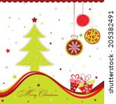 template christmas greeting... | Shutterstock .eps vector #205382491