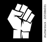 raised fist  sign of protest or ... | Shutterstock .eps vector #205386031