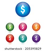 vector   set of dollar icons | Shutterstock .eps vector #205395829