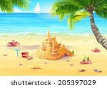 illustration holiday by the sea ... | Shutterstock .eps vector #205397029