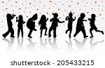dancing children silhouettes   Shutterstock .eps vector #205433215
