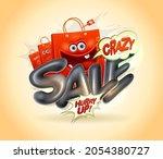 crazy sale vector poster design ...   Shutterstock .eps vector #2054380727