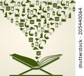 open islamic religious book... | Shutterstock .eps vector #205440064