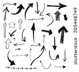 collection of grungy arrows.... | Shutterstock .eps vector #205448749