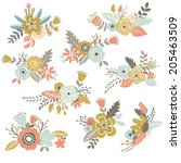 vintage hand drawn flowers set  ... | Shutterstock .eps vector #205463509