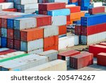 industrial port with containers | Shutterstock . vector #205474267