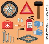 car kit. for repair and service | Shutterstock .eps vector #205475911