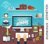 back to school typographical... | Shutterstock .eps vector #205487434