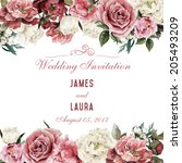 Stock photo greeting card with roses watercolor can be used as invitation card for wedding birthday and 205493209