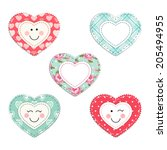 Cute fabric hearts as different smiling characters in vintage style