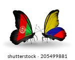 two butterflies with flags on... | Shutterstock . vector #205499881