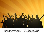 dancing people silhouettes | Shutterstock .eps vector #205505605