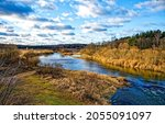 Small photo of River of autumn time landscape. Autumn river landscape. River in autumn