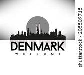 Denmark Black Skyline Silhouette vector illustration, Typographic design.