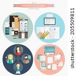 set of flat corporate design...   Shutterstock .eps vector #205509811