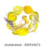 autumn retro watercolor   bird... | Shutterstock . vector #205514671
