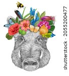 Portrait Of Boar With A Floral...