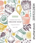 organic soap card or flyer...   Shutterstock .eps vector #2055212834
