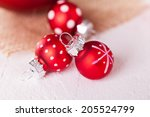 red themed christmas background ... | Shutterstock . vector #205524799