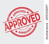 approved grunge rubber stamp on ... | Shutterstock .eps vector #205533097