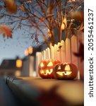 glowing jack o lantern... | Shutterstock . vector #2055461237