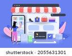 online shopping 3d illustration ...   Shutterstock .eps vector #2055631301