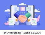 smart digital contract with 3d... | Shutterstock .eps vector #2055631307