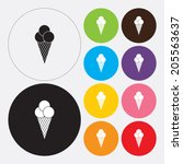 ice cream cone icon   vector | Shutterstock .eps vector #205563637