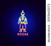 kozak neon label. vector... | Shutterstock .eps vector #2055642071