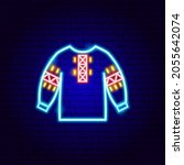 embroidered shirt neon sign.... | Shutterstock .eps vector #2055642074