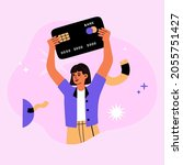girl holds a big credit card....   Shutterstock .eps vector #2055751427