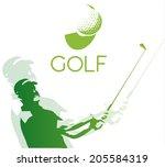 green golf icons silhouette...   Shutterstock .eps vector #205584319