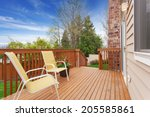 small wooden walkout deck with... | Shutterstock . vector #205585861