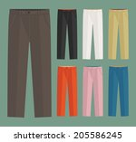 vector set of classic trousers... | Shutterstock .eps vector #205586245