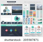 one page website flat ui design ... | Shutterstock .eps vector #205587871