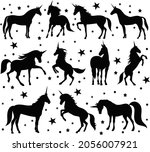 unicorns silhouette set ... | Shutterstock .eps vector #2056007921