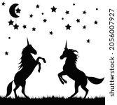 unicorns silhouette two ... | Shutterstock .eps vector #2056007927