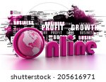 on line illustration with globe.... | Shutterstock . vector #205616971
