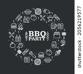 bbq party round design template ...   Shutterstock .eps vector #2056219577