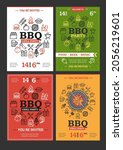 bbq grill party invitation...   Shutterstock .eps vector #2056219601
