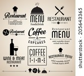 label set for restaurant menu... | Shutterstock .eps vector #205643365