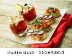 red sangria and bruschetta | Shutterstock . vector #205643851