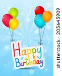 birthday message with color... | Shutterstock .eps vector #205645909