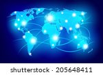 world map with glowing points... | Shutterstock . vector #205648411