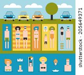 people swimming and sunbathing... | Shutterstock .eps vector #205649371