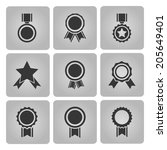 black medal and award icons set ... | Shutterstock . vector #205649401