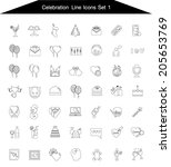 celebration icon line set 1 | Shutterstock .eps vector #205653769