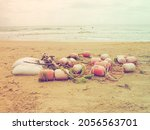 Buoys In The Sand. A Beach With ...